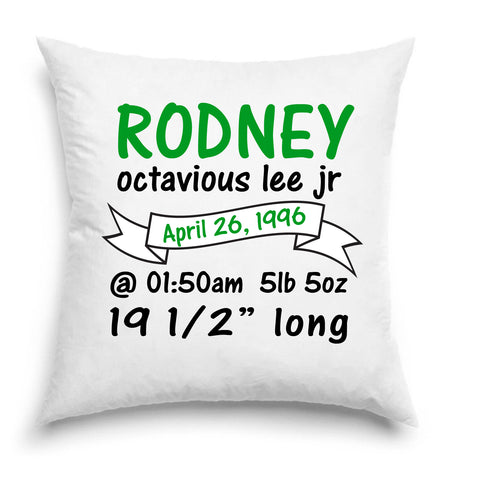 Birth Announcement Pillow - Keepsakes - Baby Room Decor - Baby Boy