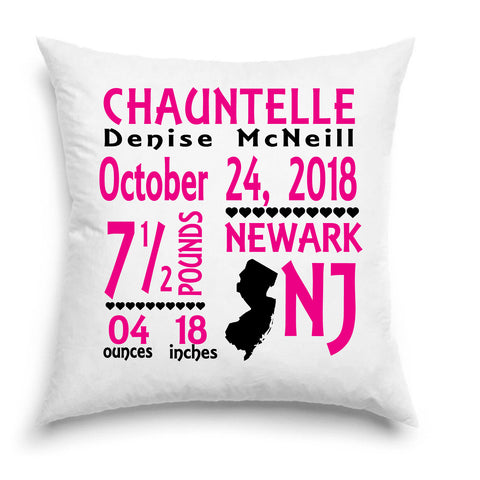 Birth Announcement Pillow - Rep Ya State - New Jersey - Keepsakes - Baby Room Decor - Baby Boy