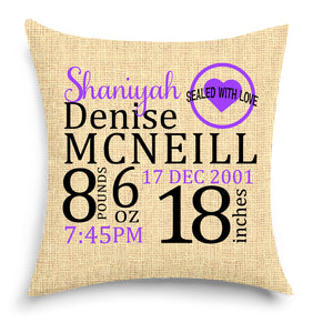 Birth Announcement Pillow - Canvas Style - Keepsakes - Baby Room Decor - Baby Boy