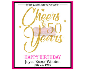 Wine Bottle Label - 50th Birthday Celebration - Cheers to 50 Years