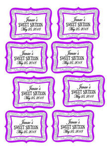 Royal Sweet 16 - Cupcake Box labels