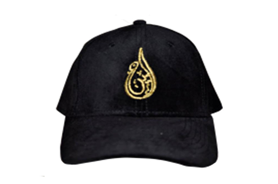 Ameen Ltd Black & Gold Velvet Baseball Cap