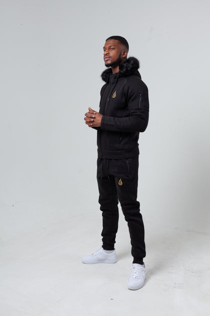'London' Black Fur Tracksuit (Available with/without fur)