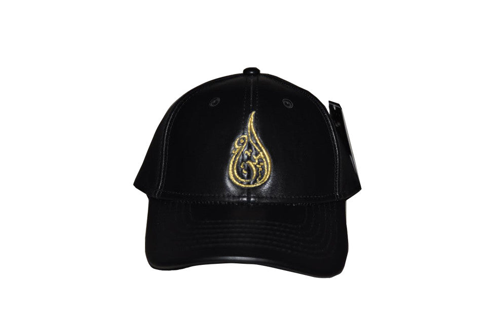 Ameen Ltd Black & Gold Leather Baseball Cap