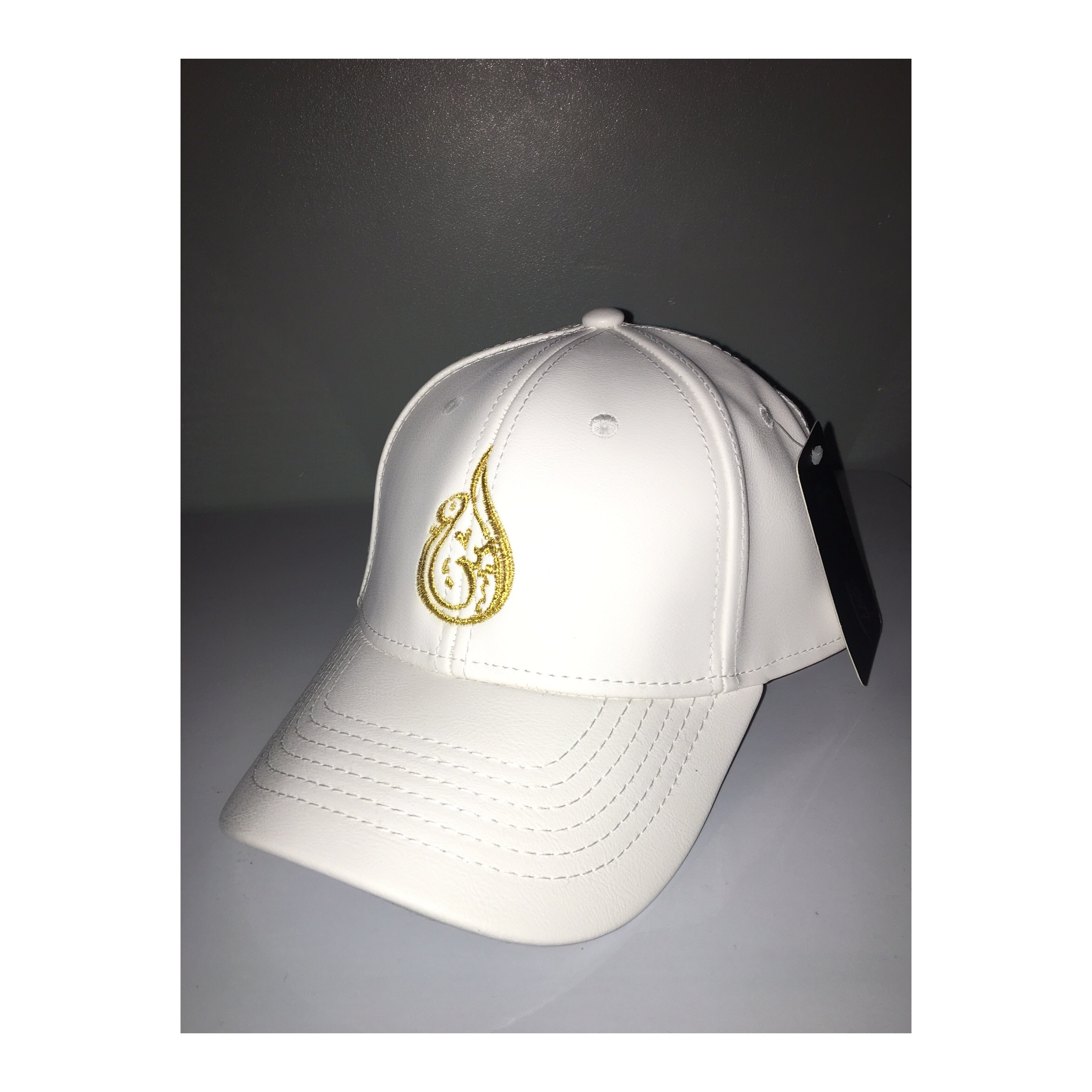 Ameen Ltd White & Gold Leather Baseball Cap