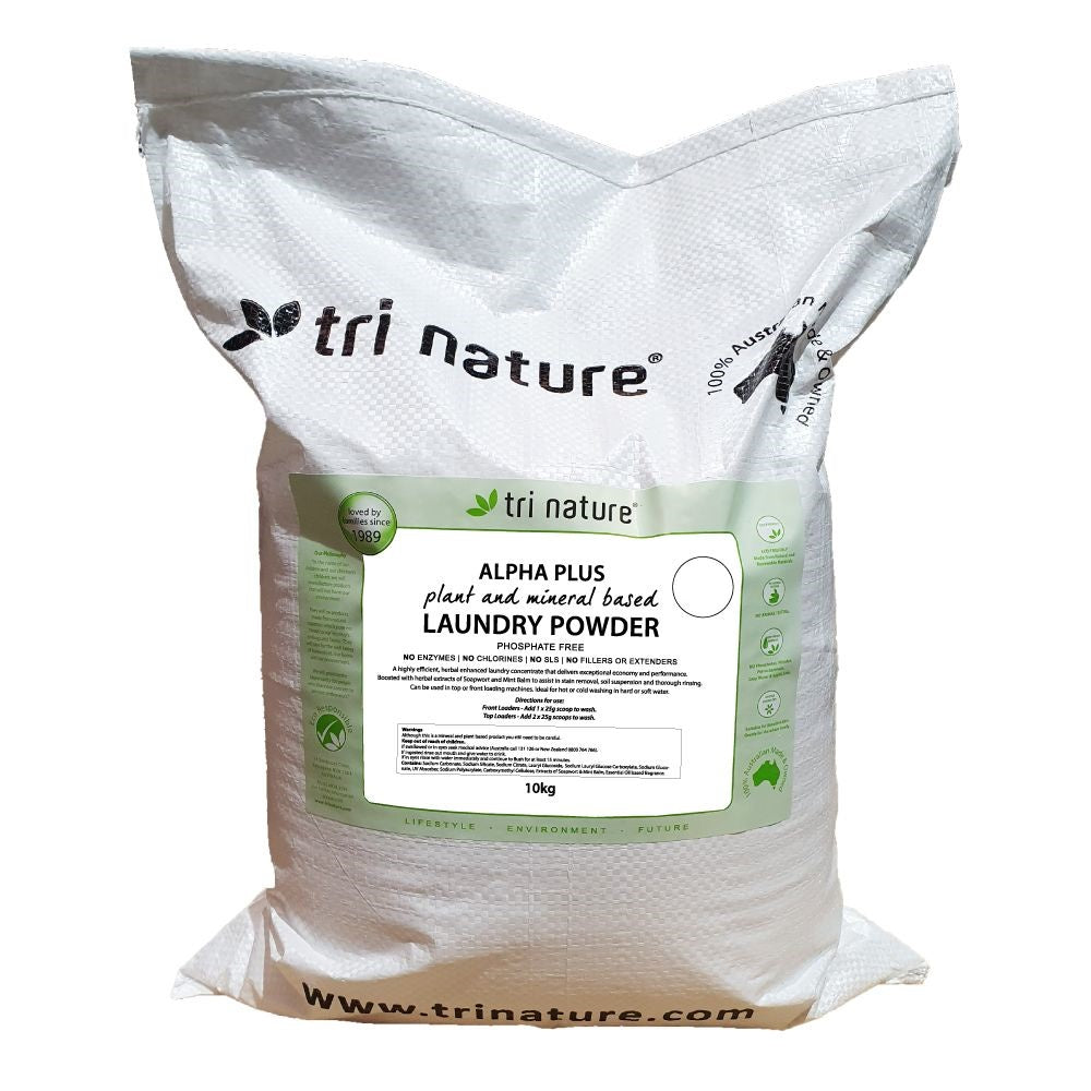 Tri Nature Alpha Plus Laundry Powder - 10kg  BULK Soft Pack
