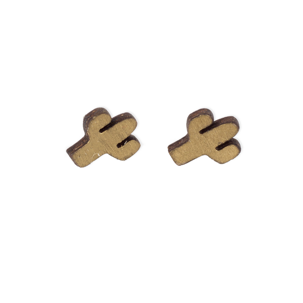 laser cut post earrings >> hypoallergenic >> gold cactus design