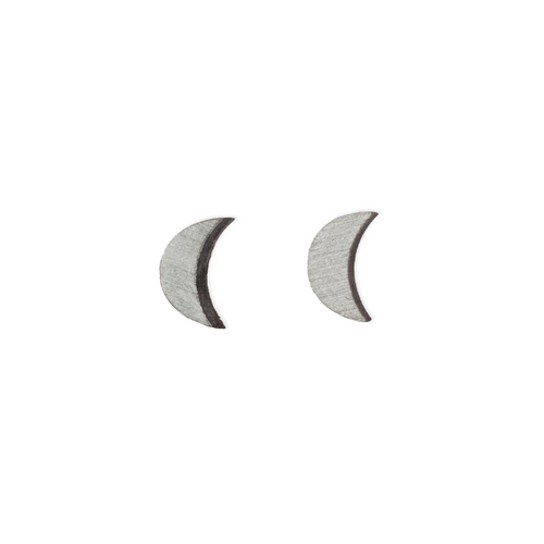 laser cut post earrings >> hypoallergenic >> silver crescent moon