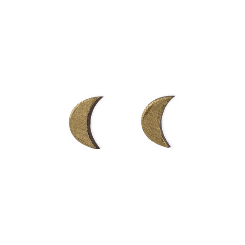 laser cut post earrings >> hypoallergenic >> gold crescent moon