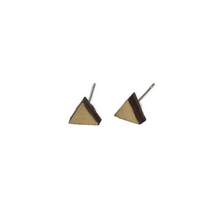 laser cut post earrings >> hypoallergenic >> gold triangle
