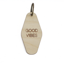 retro key fob >> wooden key chain >> good vibes