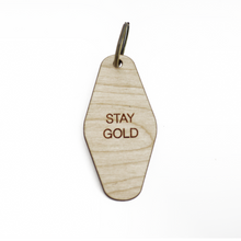 retro key fob >> wooden key chain >> stay gold