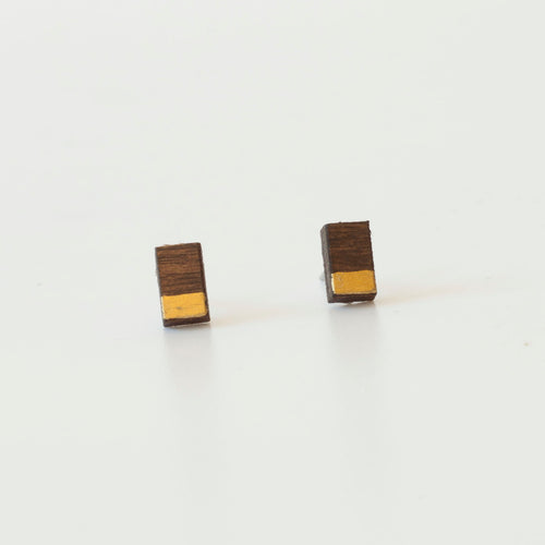 laser cut post earrings >> hypoallergenic >> walnut + gold minimal bar