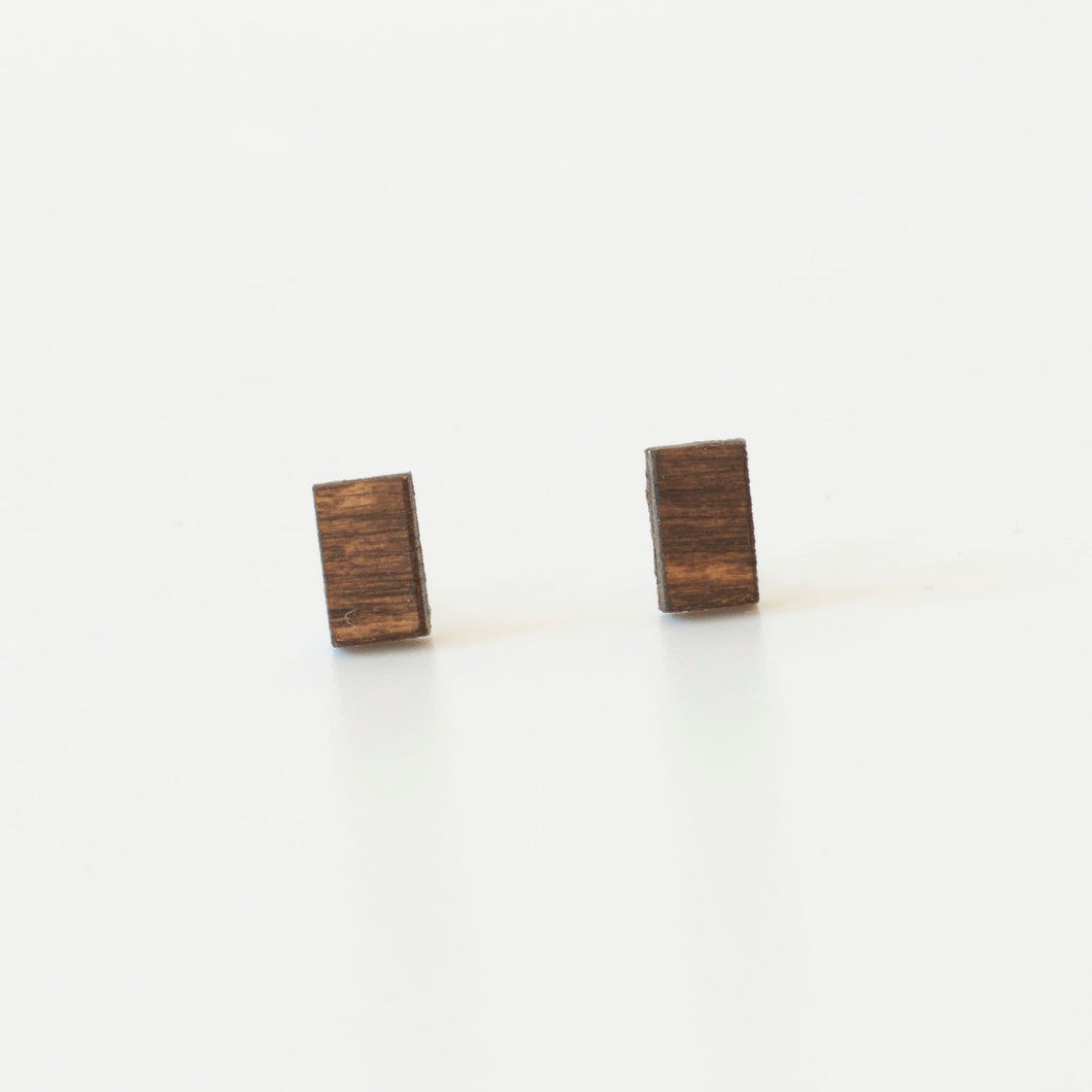 laser cut post earrings >> hypoallergenic >> walnut minimal bar