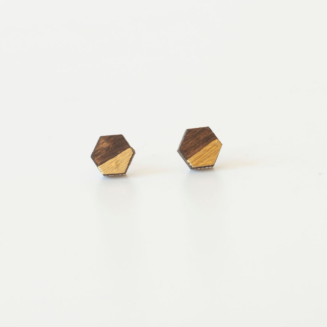 laser cut post earrings >> hypoallergenic >> walnut + gold hexagon
