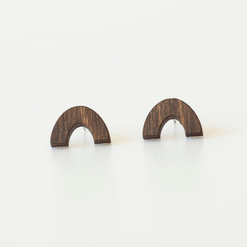 laser cut post earrings >> hypoallergenic >> walnut rainbow