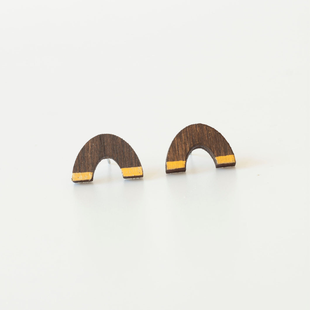 laser cut post earrings >> hypoallergenic >> walnut + gold rainbow