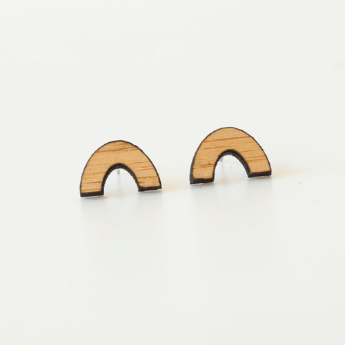 laser cut post earrings >> hypoallergenic >> bamboo rainbow