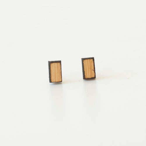 laser cut post earrings >> hypoallergenic >> bamboo minimal bar
