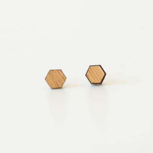 laser cut post earrings >> hypoallergenic >> bamboo hexagon