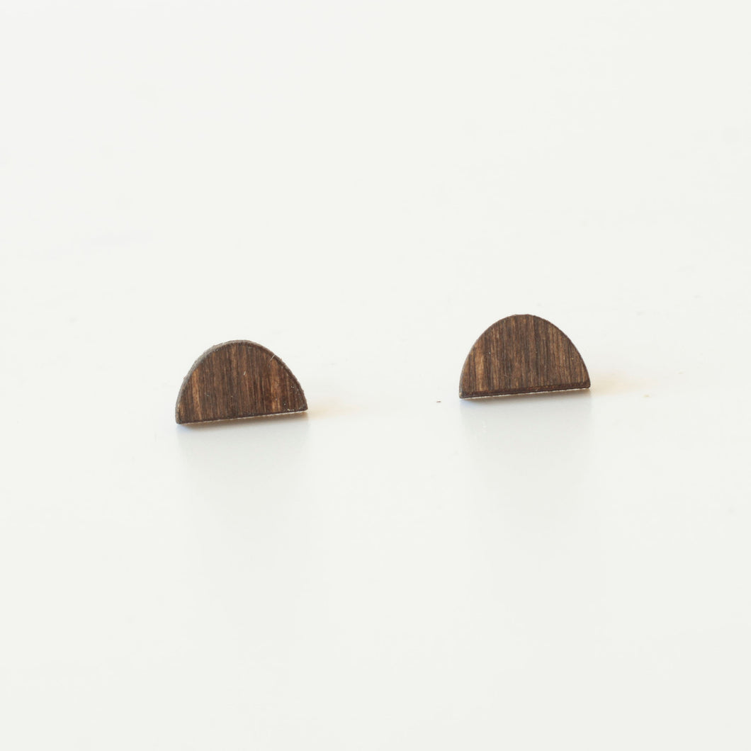 laser cut post earrings >> hypoallergenic >> walnut sunrise