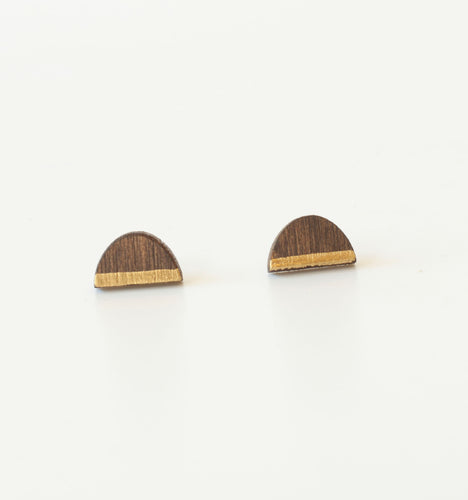 laser cut post earrings >> hypoallergenic >> walnut + gold sunrise