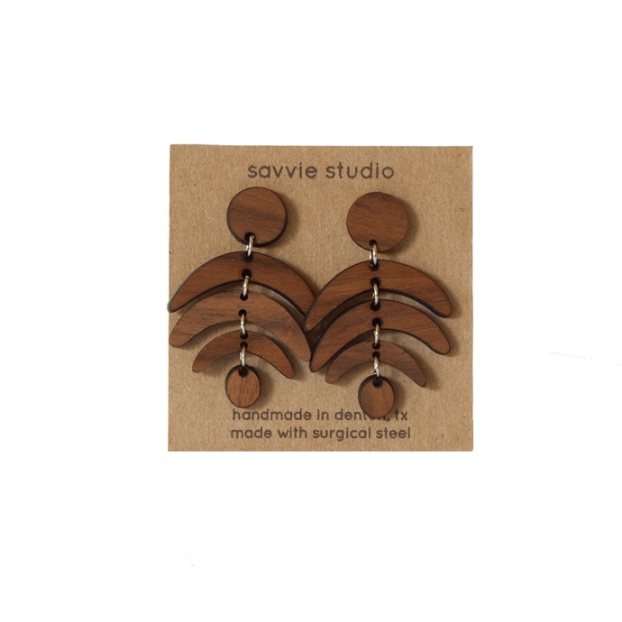 Dangle Earrings - Walnut Rainbows