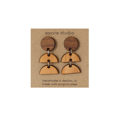 Dangle Earrings - Walnut + Cherry Sunrise