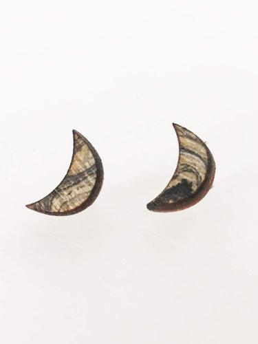 laser cut post earrings >> hypoallergenic >> marbled crescent moon