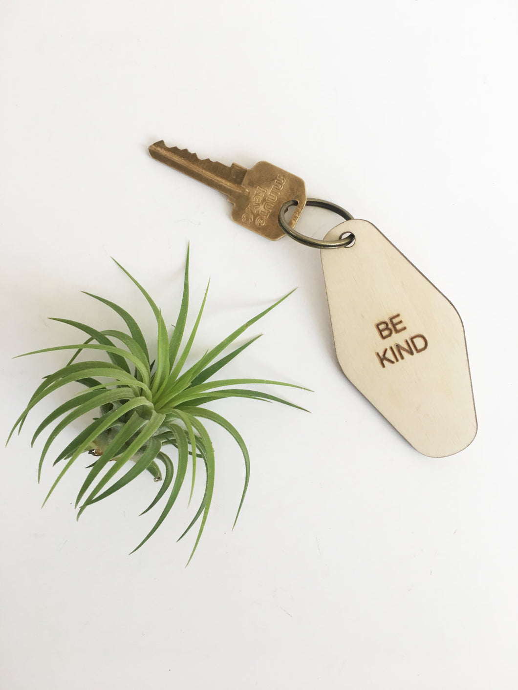 retro key fob >> wooden key chain >> be kind