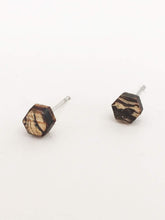 laser cut post earrings >> hypoallergenic >> marbled hexagon