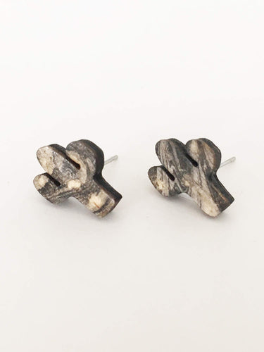 laser cut post earrings >> hypoallergenic >> marbled cactus design