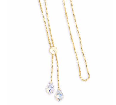 Luca + Danni ~ Baroque Lariat Necklace in Crystal AB