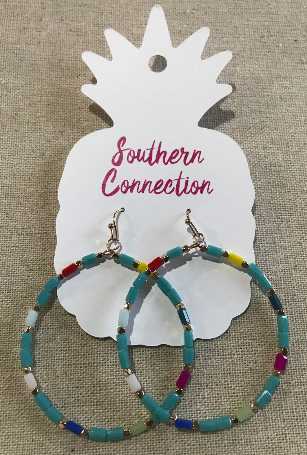 Southern Connection ~ Multicolor Beaded Hoop Earrings Turquoise