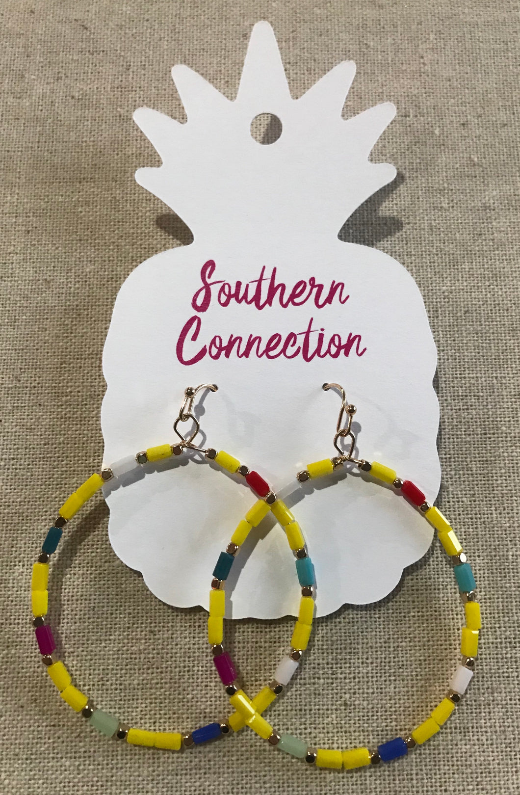 Southern Connection ~ Multicolor Beaded Hoop Earrings Yellow
