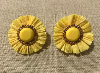 Southern Connection ~ Yellow Raffia Earrings