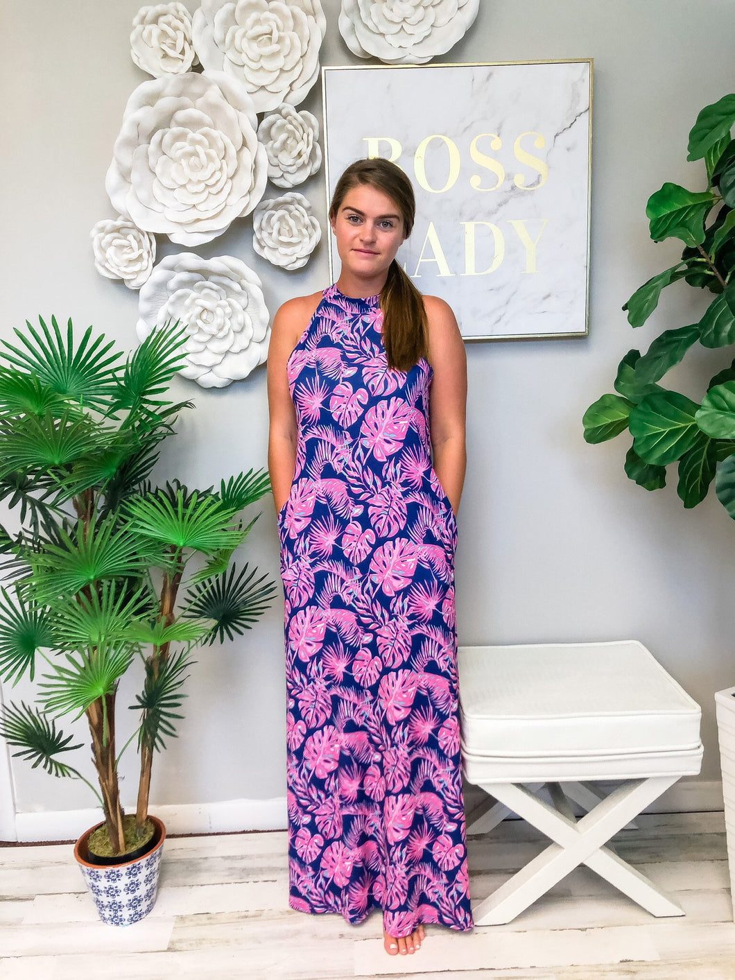 Simply Southern ~ Halter Palm Maxi Dress