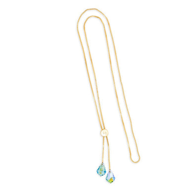 Luca + Danni ~ Baroque Lariat Necklace in Crystal Glacier Blue