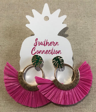 Southern Connection ~ Pink Palm Fan Earrings