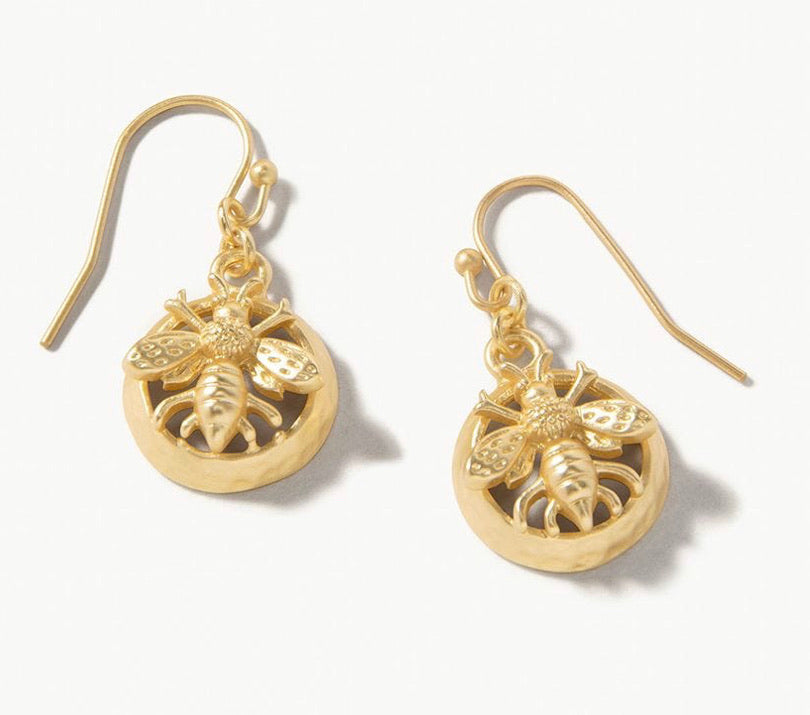 Spartina ~ Sticky Bee Drop Earrings Gold