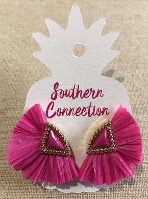 Southern Connection ~ Pink Raffia Earrings