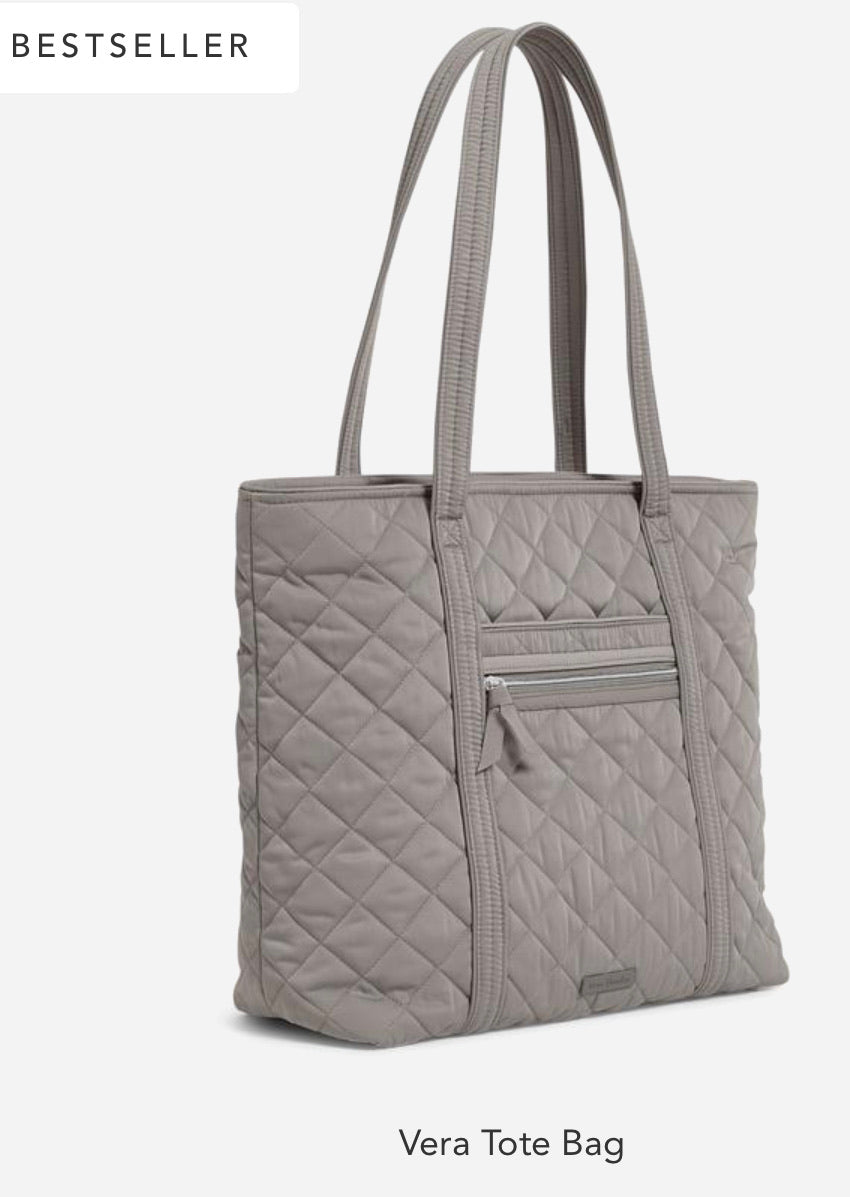Vera Bradley ~ Tote Bag in Performance Twill Tranquil Gray