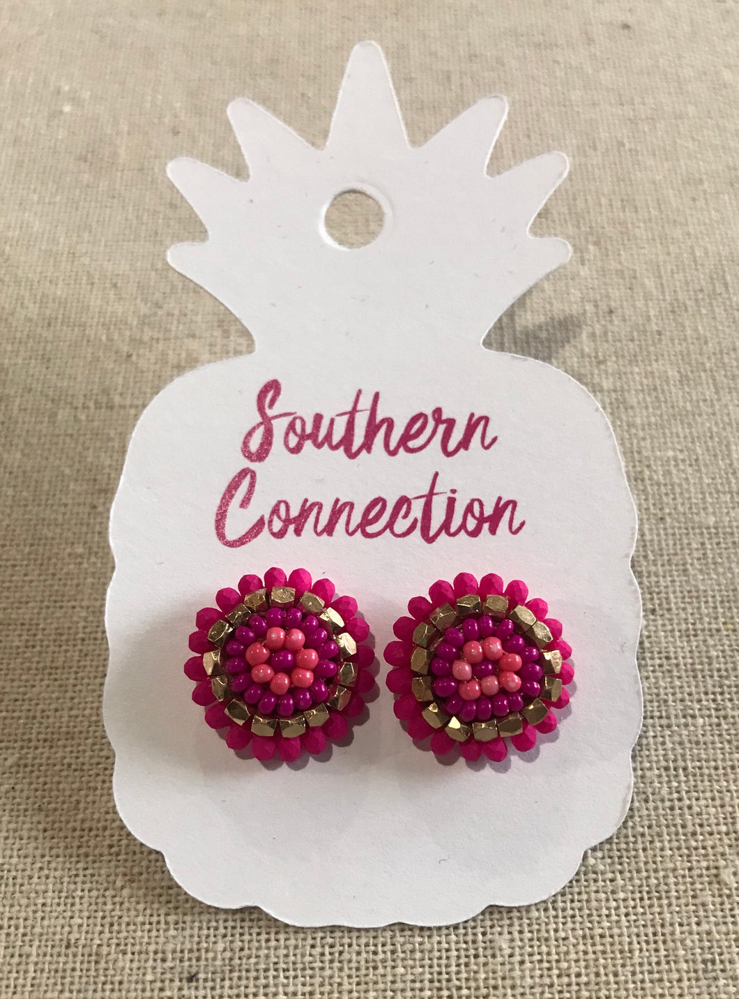 Southern Connection ~ Pink Beaded Earrings