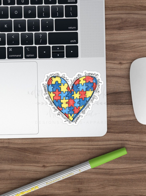 Doodles by Rebekah ~ Autism Heart Sticker