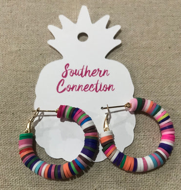 Southern Connection ~ Rubber Hoop Earrings Multi-Color