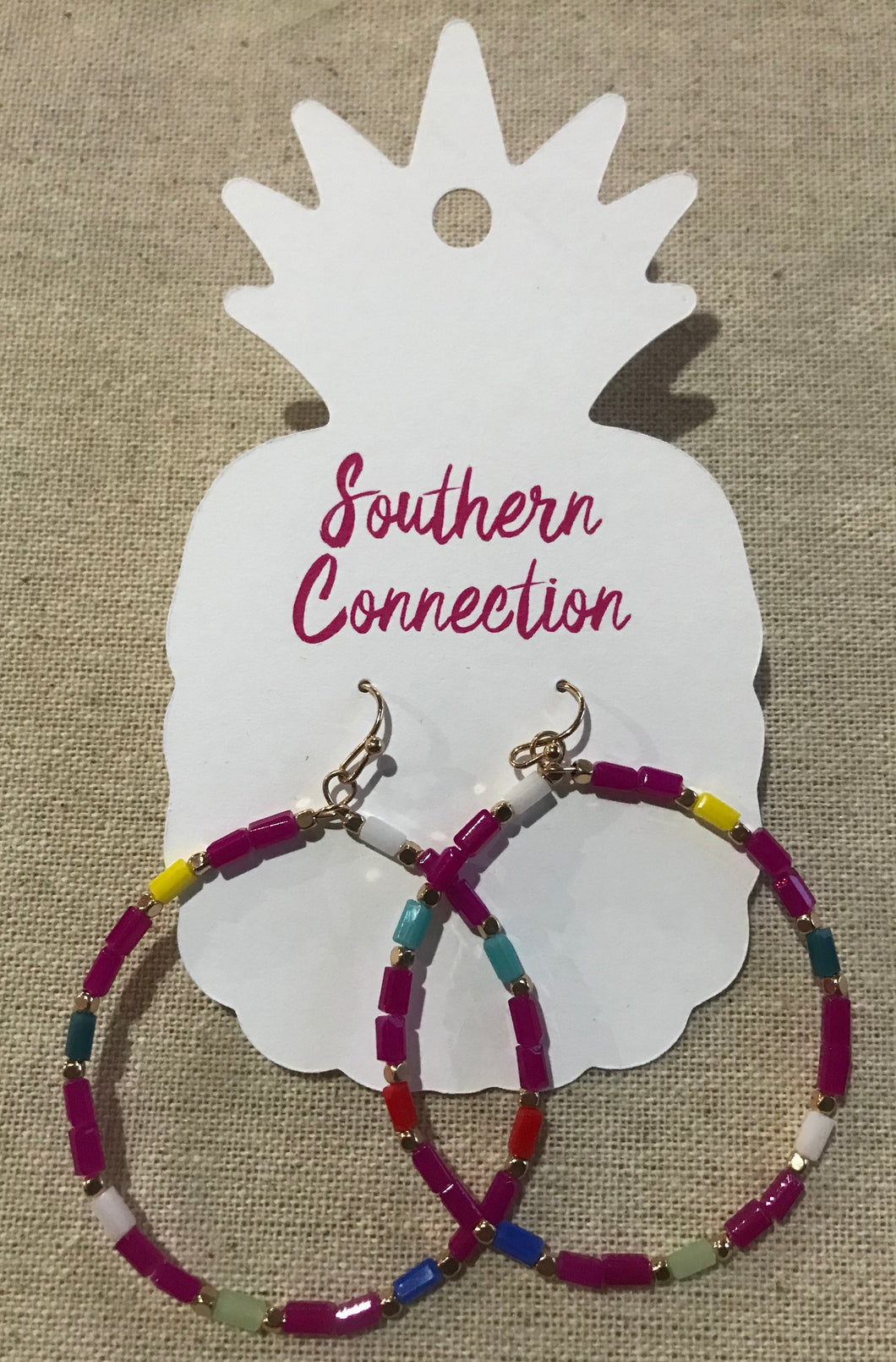 Southern Connection ~ Multi Color Beaded Hoop Earring Pink
