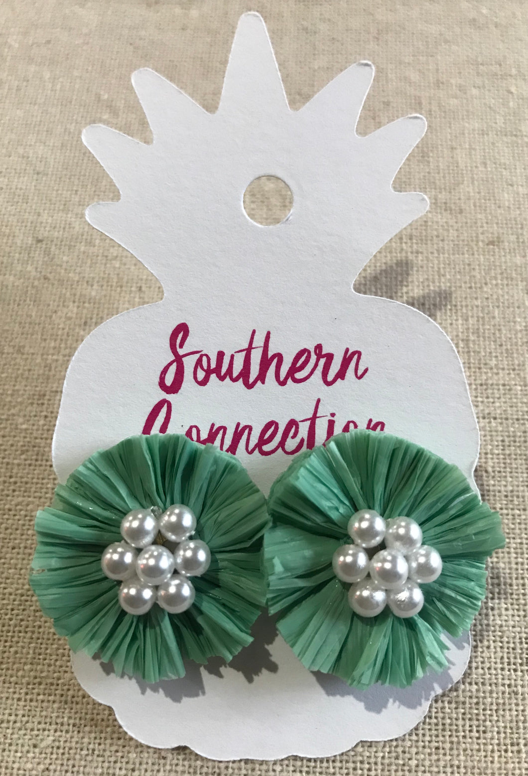 Southern Connection ~ Raffia Earrings Pink