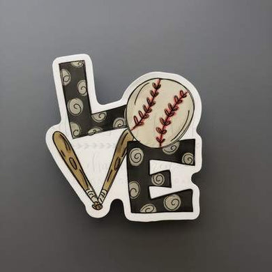 Doodles by Rebekah ~ Baseball Love Sticker