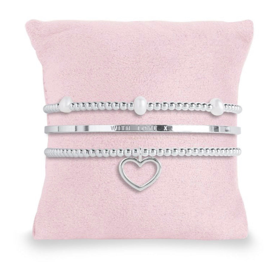 Katie Loxton ~ OCCASION GIFT BOX - MARVELOUS MOM - 3 SILVER STACKING BRACELETS