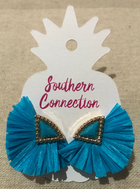 Southern Connection ~ Turquoise Raffia Earrings